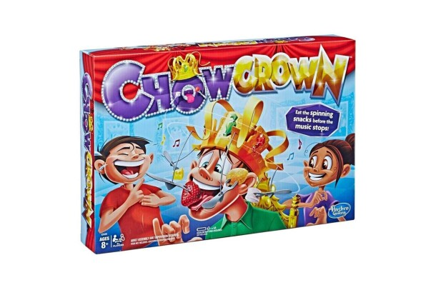 An interactive game, called Chow Crown, with electronic crown base, crown front, crown back, arm holder, 3 jewels, 6 crown arms, 6 fork arms, 6 plastic forks, and game guide