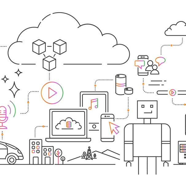 Illustration of cloud concepts, including computers, cell phones, cars, and robotics.