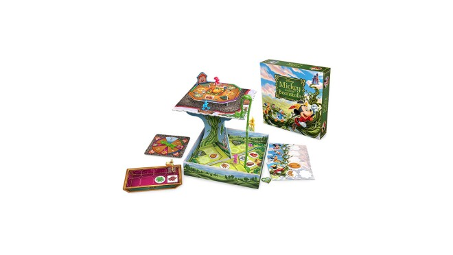 An image of a board game and its box. The game includes the board and several accessories and cards to accompany it.