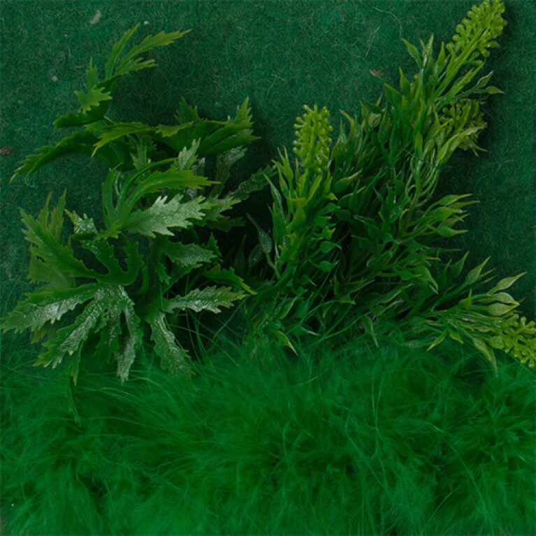 Plastic green foliage and a feathery green object are set against a green background.