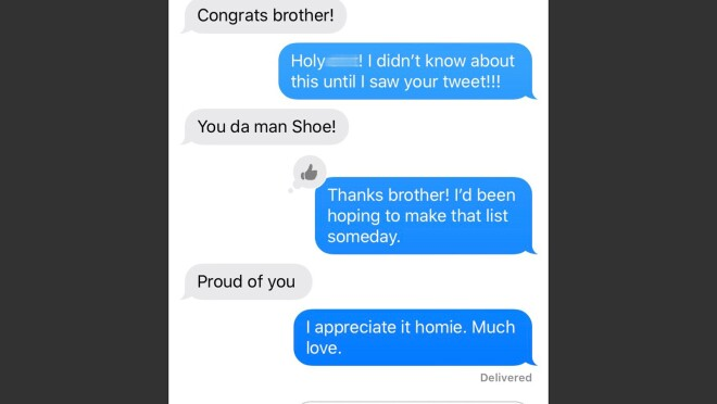 "Screen grab of a text thread beginning with the words ""Congrats brother!"""