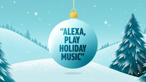 "Illustration of an ornament with text that says ""Alexa, play household music"""