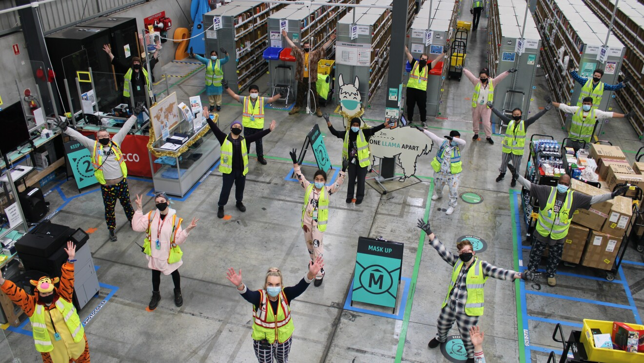 The team at Amazon's Fulfilment Centre in Perth, wearing their favourite PJs