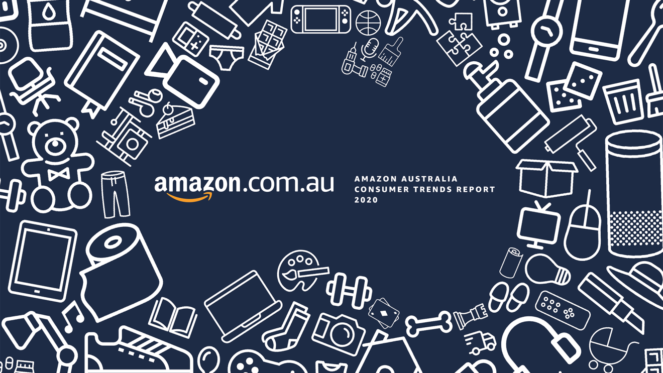 """An illustration of white on navy blue with assorted items scattered about to illustrate the shape of Australia, with the words """"Amazon.com.au"""" and """"Amazon Australia consumer trends report 2020"""""""