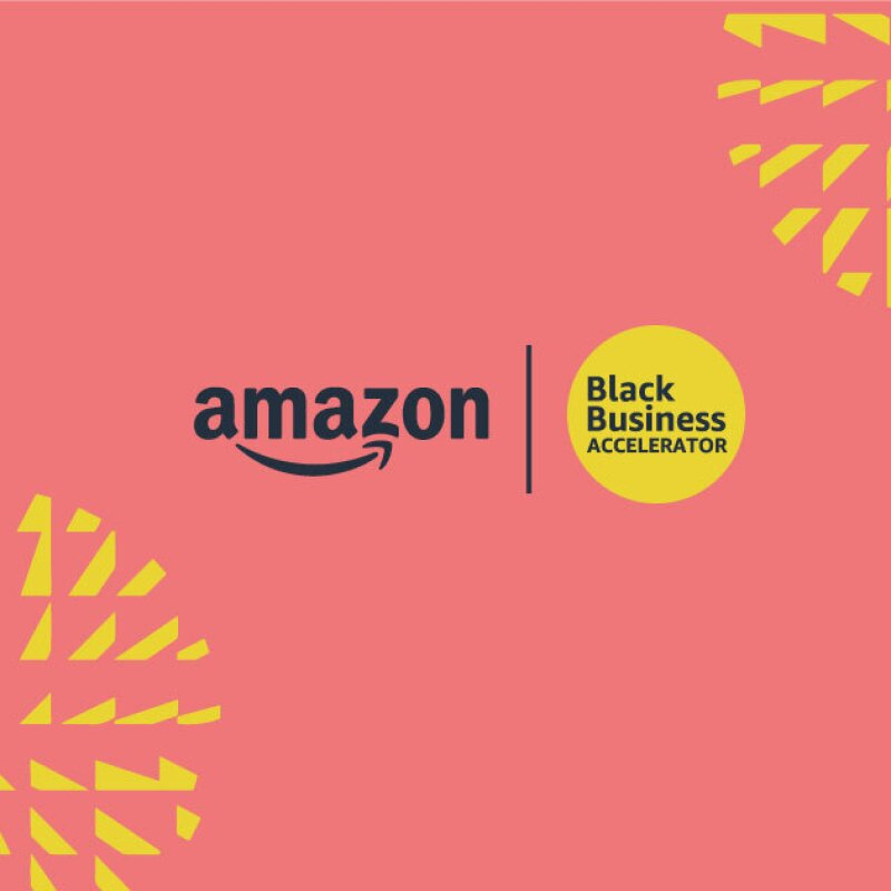 An image with a pink and yellow illustration on one side of it, and an image of a woman smiling while holding a bag of coffee from the coffee company she owns. The side with the graphic shows to logos: One for Amazon and the other for the Black Business Accelerator.