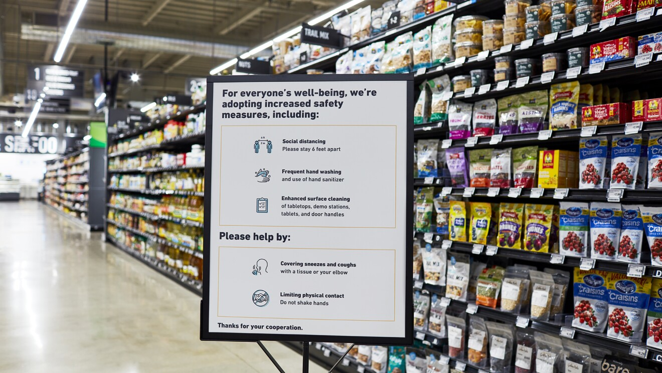 Interior image on an Amazon Fresh grocery store