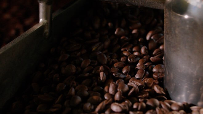 Roasted coffee beans at Hook Coffee's roastery