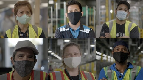 A composite of men and women who work at Amazon, wearing face masks at work