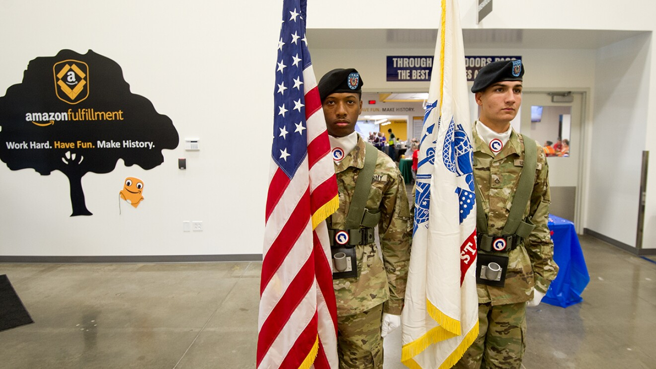 Ft. Knox Color Guard presentation at Amazon Campbellsville, Kentucky