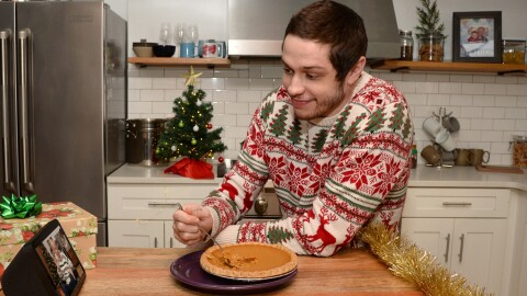 Pete Davidson and his grandfather using the Amazon Echo Show