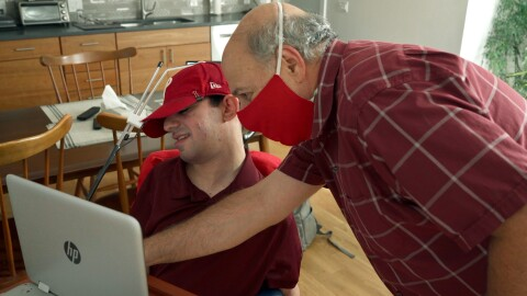 A man with cerebral palsy engages with his Alexa device with a program called Voiceitt