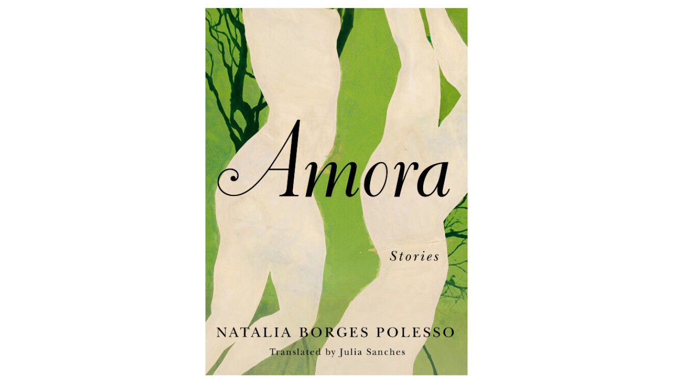 """The book cover of """"Amora"""" is a light green color with two silhouettes of human bodies that are cream color. There are dark green twig like figures coming from behind the silhouettes."""