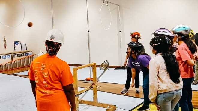 Students participate in The Tech Interactive's annual Tech Challenge.