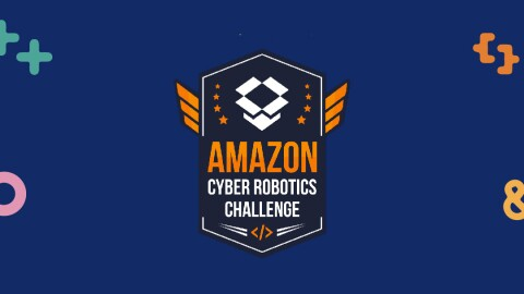 Amazon Cyber Robotics Challenge logo, in collaboration with Amazon and Singapore Science Centre