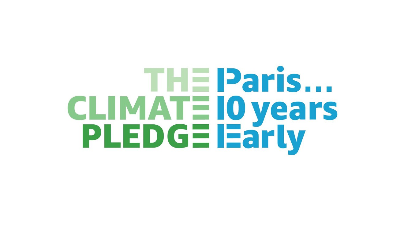 "Text on a white background that says ""The Climate Pledge, Paris... 10 years early"" - a logo to support Amazon's Climate Pledge"
