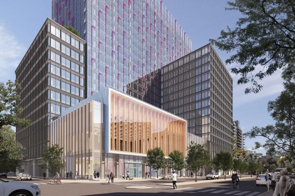 Rendering of new Amazon headquarter location in Arlington, Virginia.