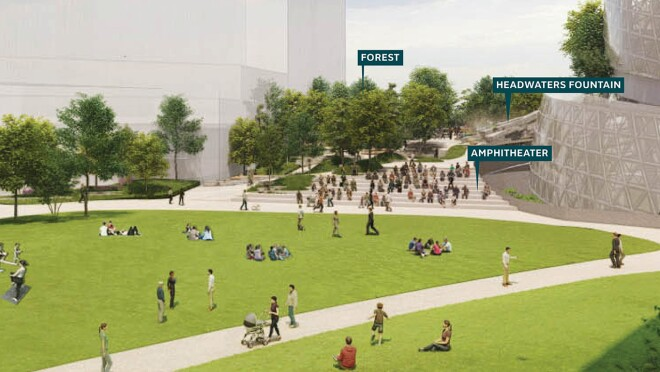 An image rendering of the amphitheater and outdoor space outside of the new Amazon headquarters in Arlington.