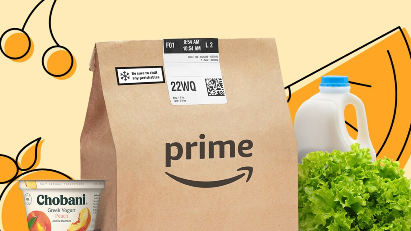 Prime brown paperbag that marks the launch of Amazon Fresh