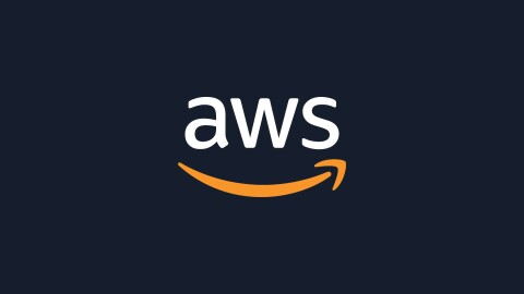 AWS logo in white text on squid ink background