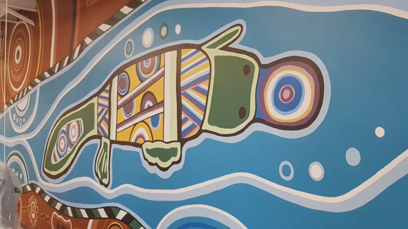 Local Aboriginal artist, Mandi Barton's mural at Ravenhall