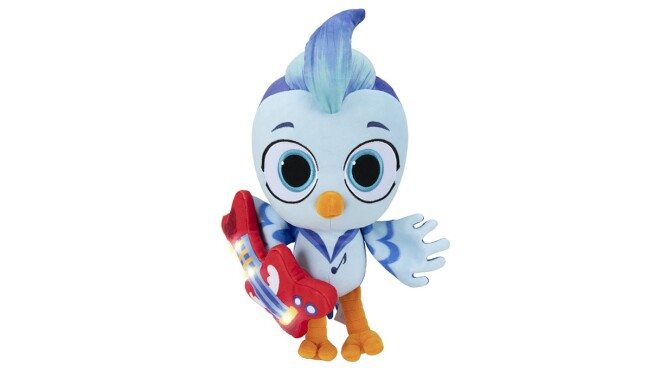 An image of a stuffed blue bird plush toy. The bird has a red guitar under its wing.