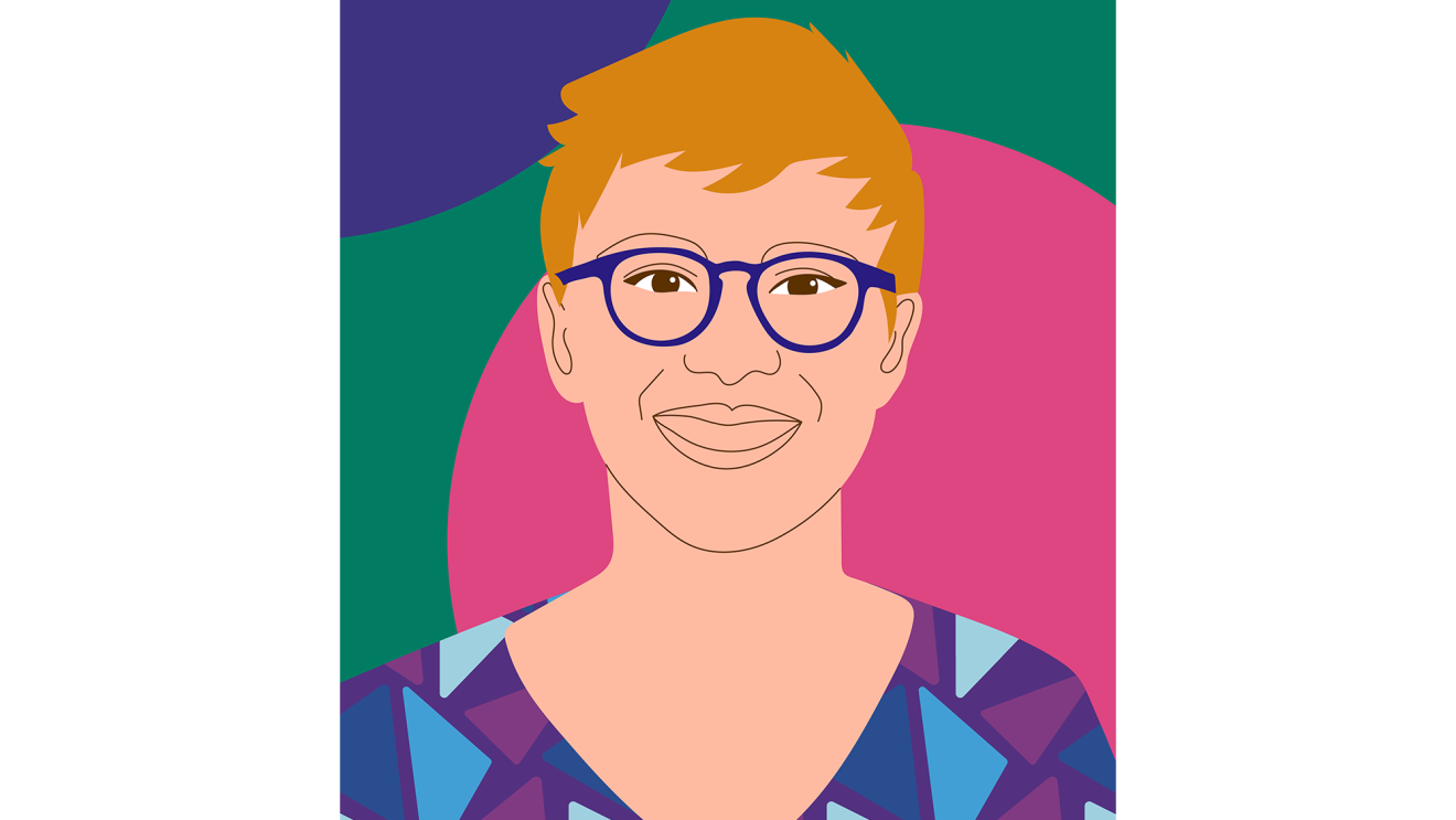 Art by Aurelia Durand depicting a woman who works in technology. Colors are bright and saturated in the woman's image, and background