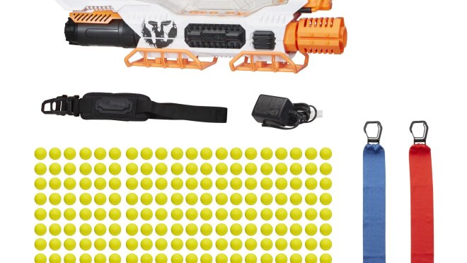Advanced Acceleration System hold 200 rounds, and fires at a velocity of 100 feet per second (30 meters per second). Includes blaster with rechargeable NiMh battery, charger, 200 rounds, 2 flags, shoulder strap, and instructions.