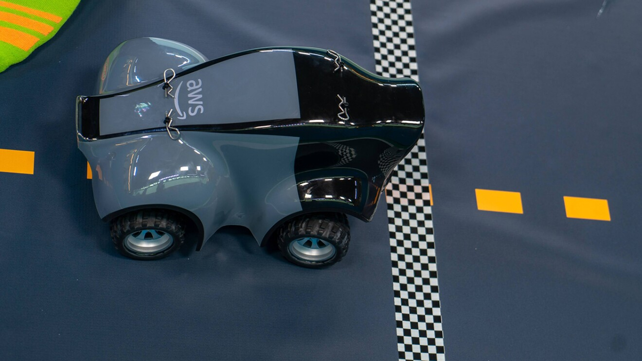 AWS DeepRacer car and track, a machine learning car with adult and kids' leagues