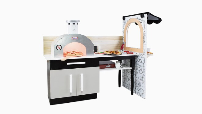 An image of a toy kitchen set with a pizza oven and a serving window and counter space.