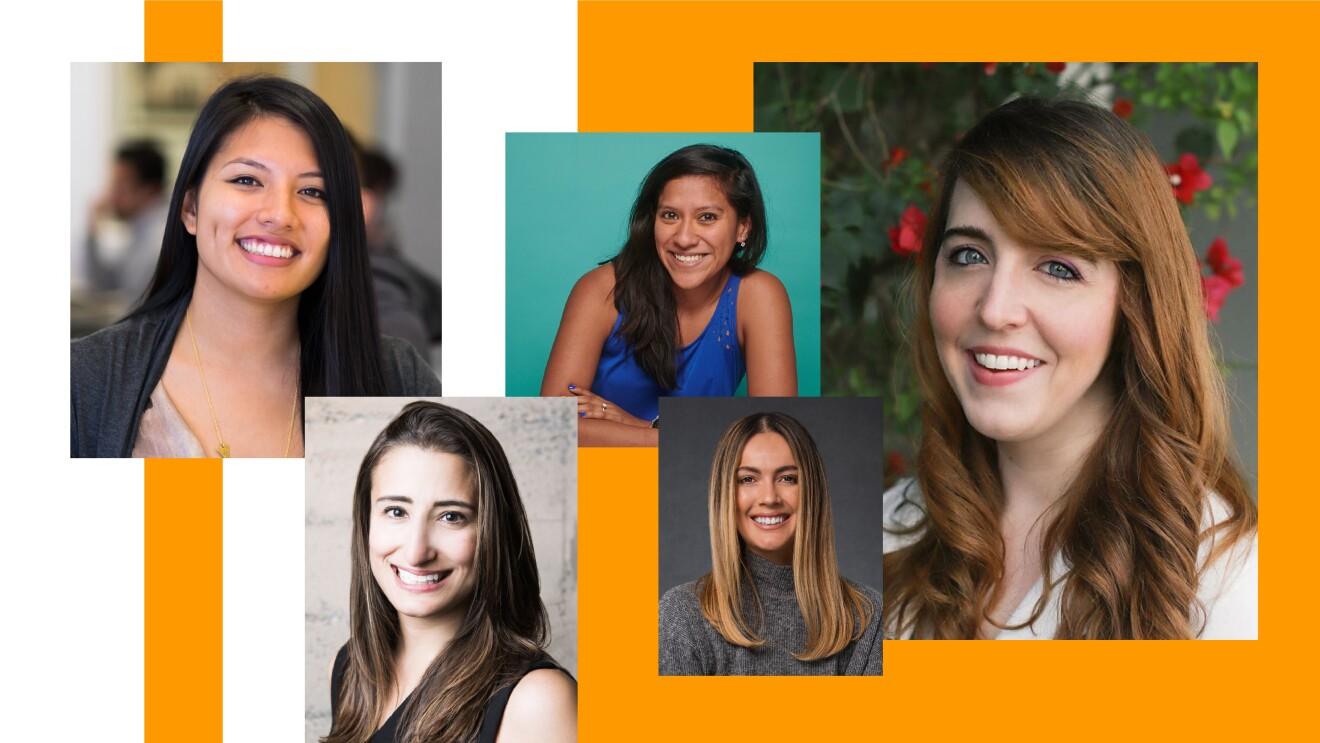 A composite image of 5 women founders