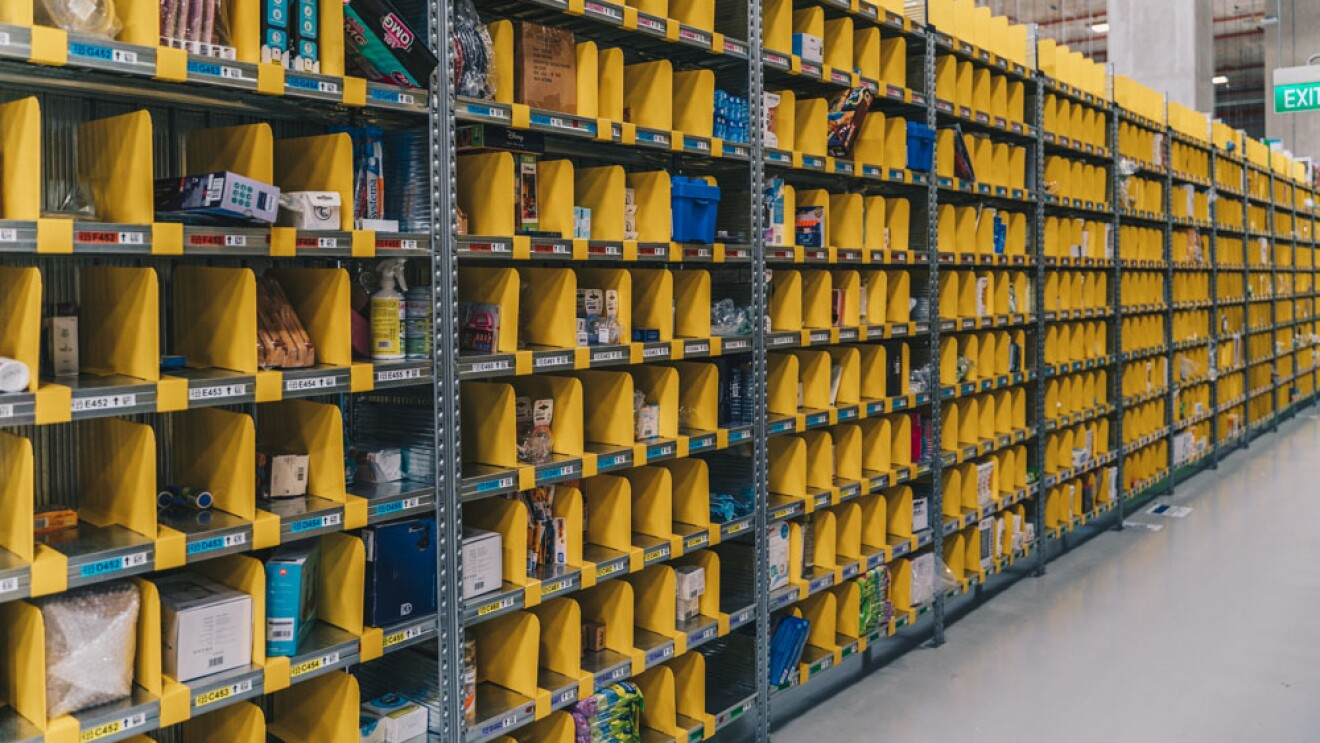 Rows of products within the fulfillment centre in Singapore