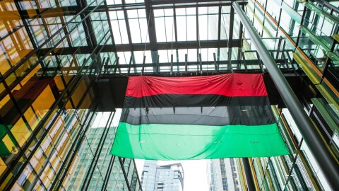 A flag with red, black, and green horizontal stripes flies from a skybridge between two office buildings.