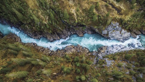 Aerial view over a mountain river