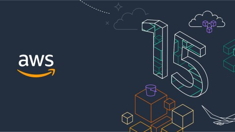 An illustrated graphic showing the Amazon Web Services (AWS) logo on the left, and illustrations on the right depicting boxes, birds, a bucket, and a 3D number 15.