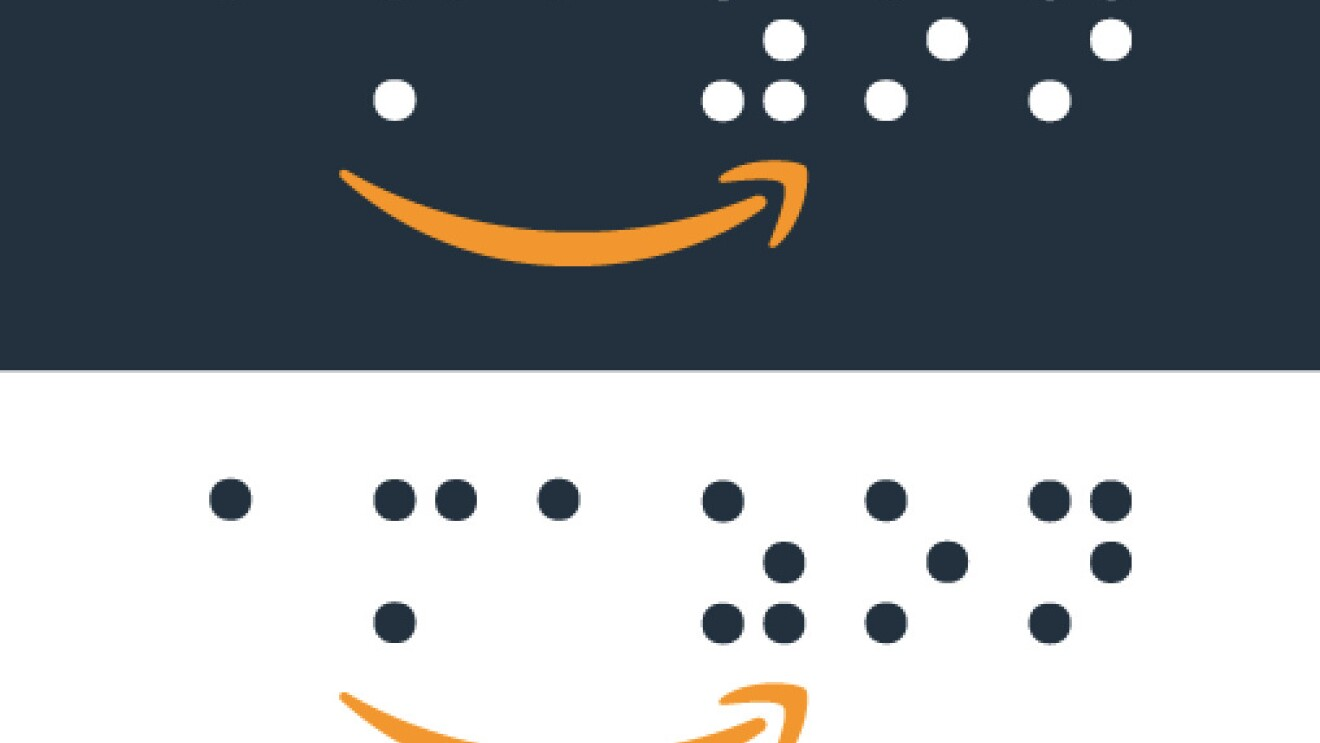 Amazon's logo in braille. The background is both black and white, and the Amazon Smile logo is in orange.