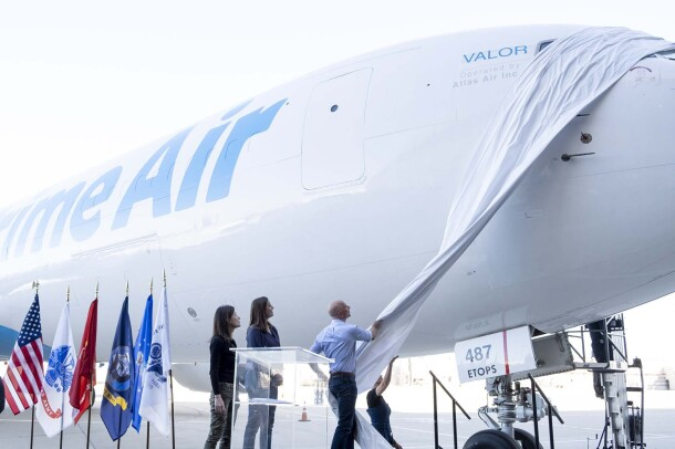Jeff Bezos unveils unveils 40th Amazon Air plane, honoring the Amazon military community.