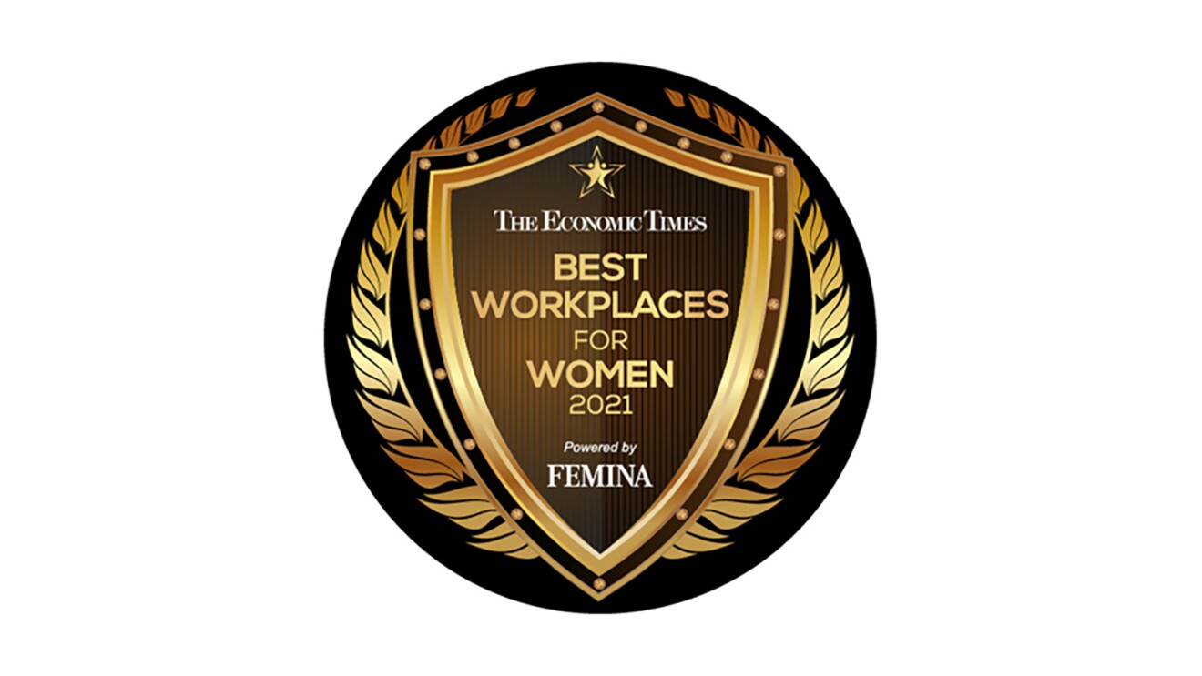 """A seal on brown and gold that says """"The Economic Times, Best Workplaces for Women 2021, powered by Femina."""""""