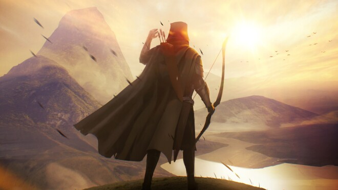 A character holding a bow and arrow looks toward a mountainous landscape illuminated by bright sunshine.