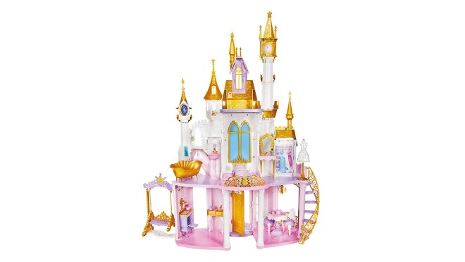 An image of a toy castle with white walls, pink floors, purple trimmings, blue windows, and gold roofing on the castle points.