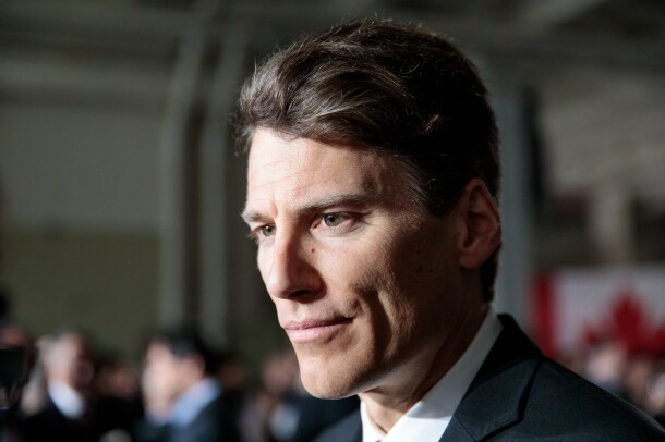 Vancouver, B.C. Mayor Gregor Robertson at an event announcing the creation of 3,000 additional Amazon jobs in Vancouver, British Columbia, Canada on April 30, 2018.