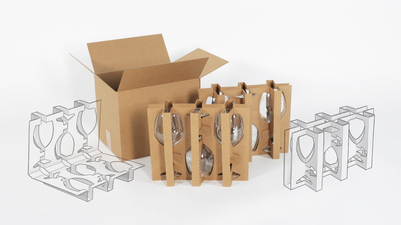Image of 3 packaging components of the stemware packaging after the redesign laid out with a hand drawn illustration of the stemware inserts overlaid on the image. This includes 2 cardboard inserts and a cardboard box.