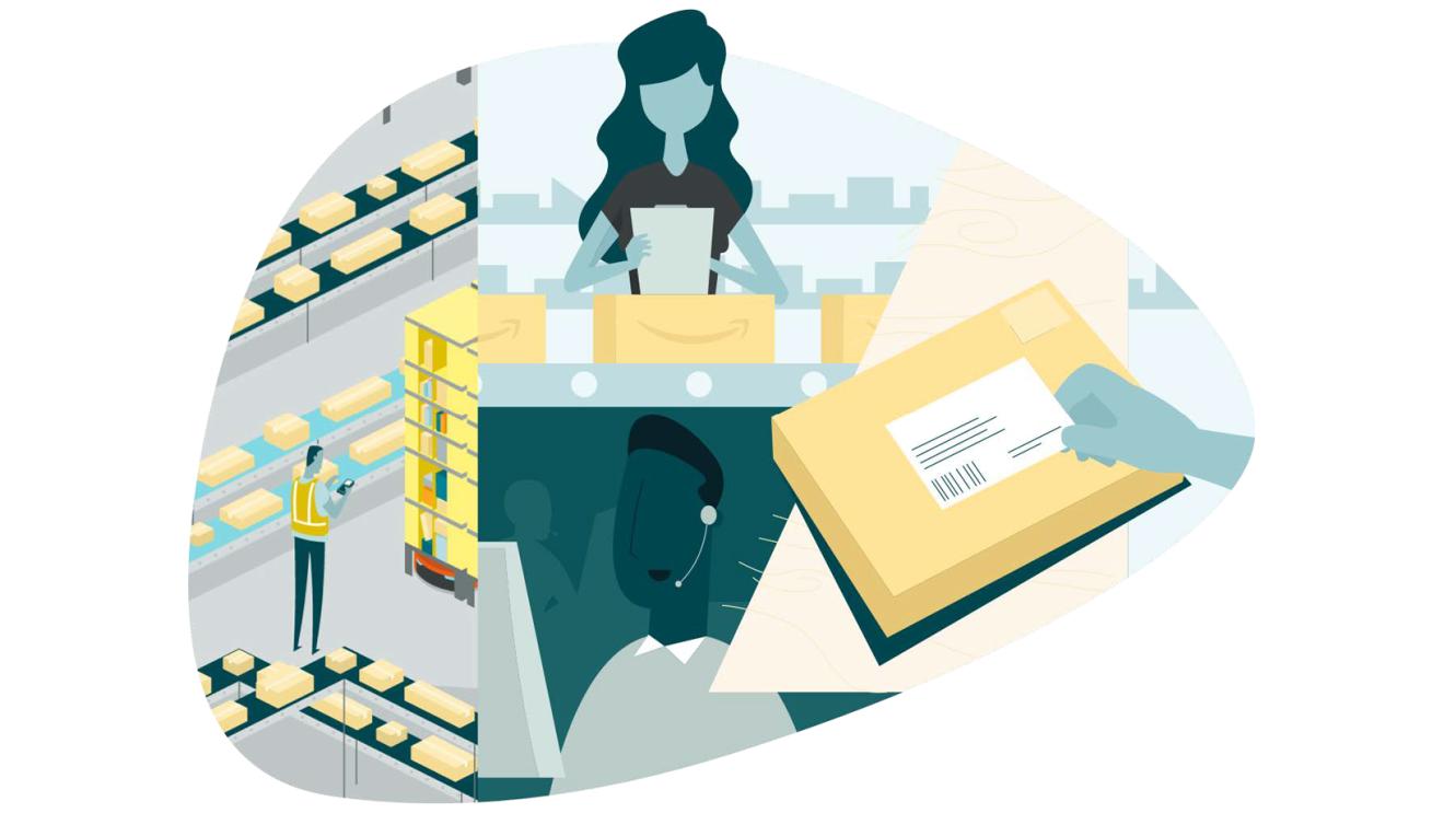 Brand Protection Reportの表紙イラスト 製品を作っている女性、商品を管理するAmazonのスタッフ