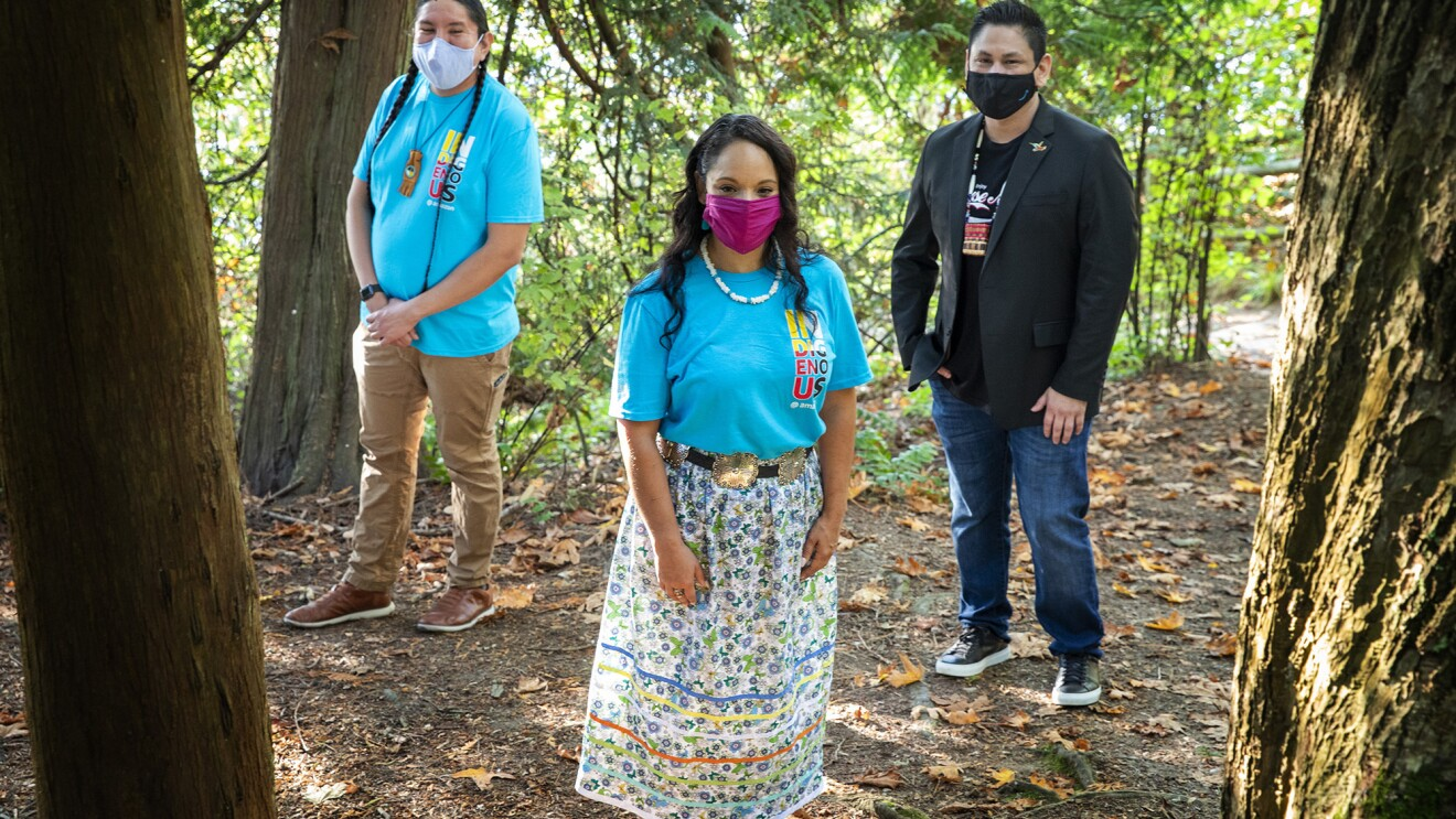 An image of three leaders of the Indigenous@ affinity group at Amazon.