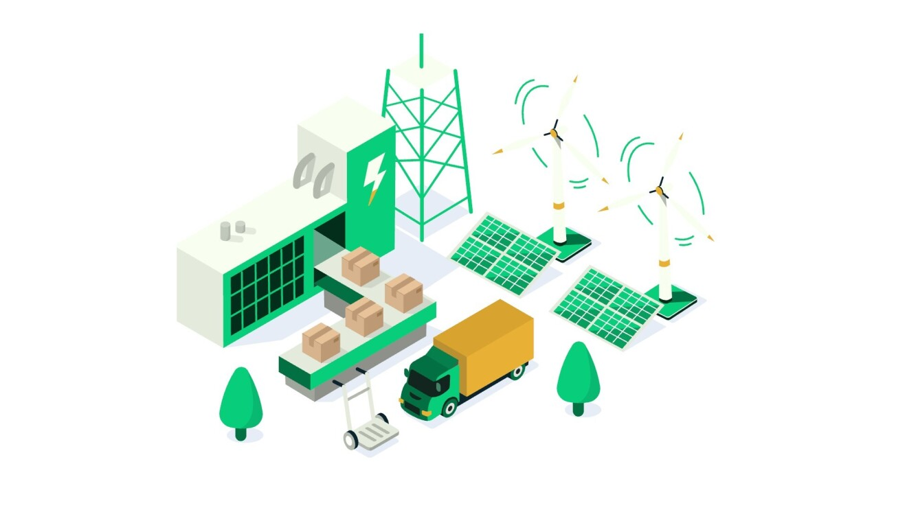 A green, white, and gold graphic illustrates a truck picking up boxes from a distribution center with solar panels and wind energy mills outside.