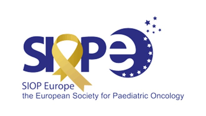 """An image of the logo for the SIOP Europe. The logo has the acronym at the top, with a gold ribbon in place of the O. Below the acronym, the organization's name is spelled out to say """"the European Society for Pediatric Oncology."""""""