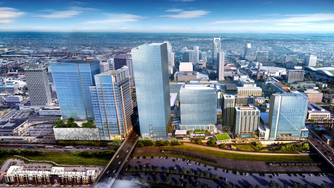Architectural rendering of Nashville Yards development to be built to house future Amazon Center of Operational Excellence.