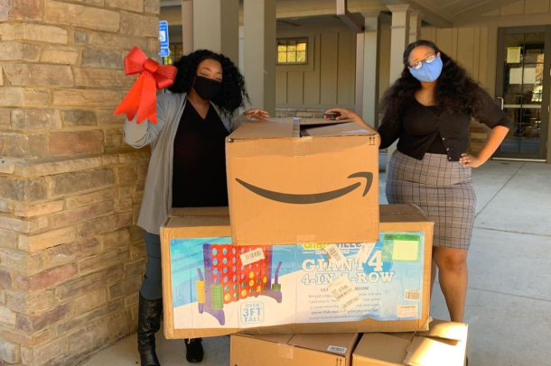 An image of donations Amazon made to on of the charitable organizations selected for its Delivering Smiles program this year.
