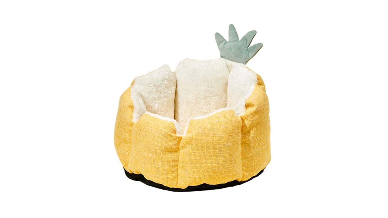 Bright and cheery pet bed that looks like a pineapple