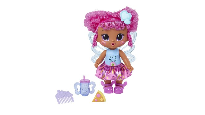 An image of a baby doll with bright pink hair and a blue shirt and pink tutu. She has a bottle and a comb with her as accessories.