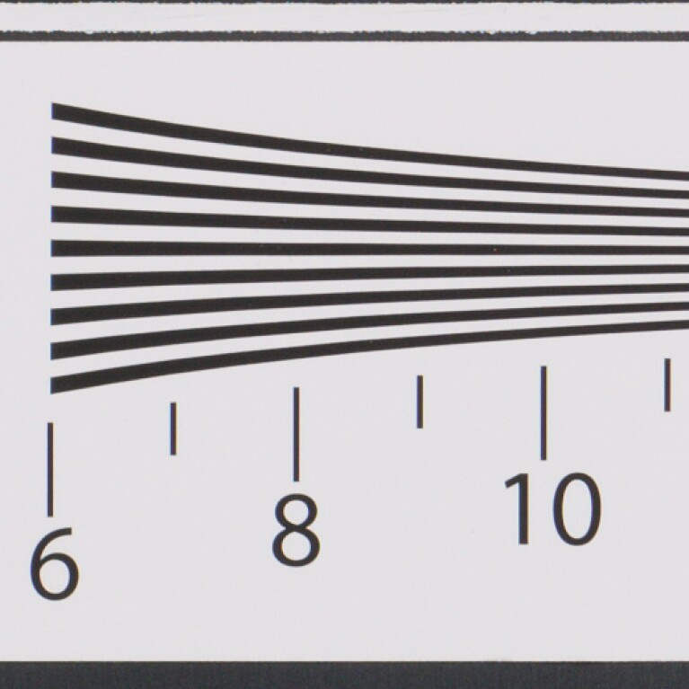 Nine black lines on a light background. As the lines move from left to right they converge. Below the lines are the numbers 6, 8, and 10.